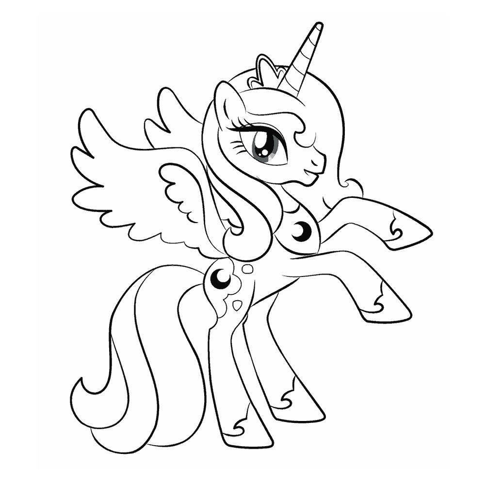 Раскраски пони Принцесса Луна🖌 скачать и распечатать онлайн