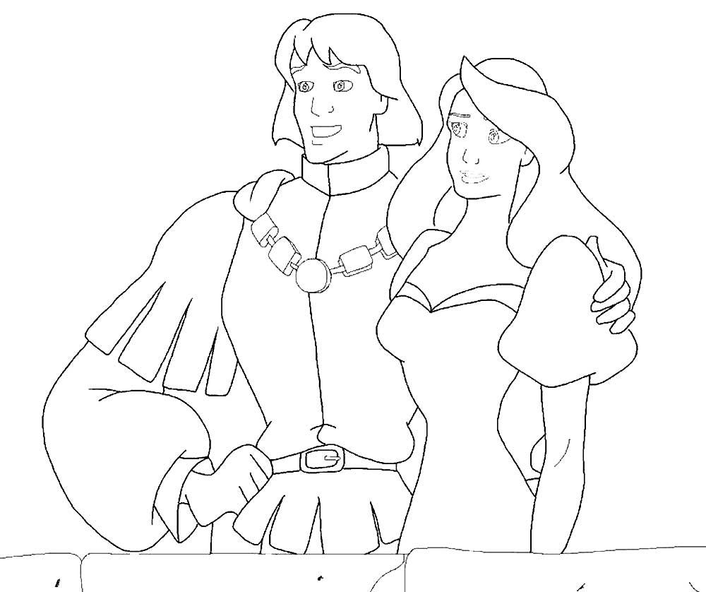 раскраски принц и принцесса скачать и распечатать онлайн