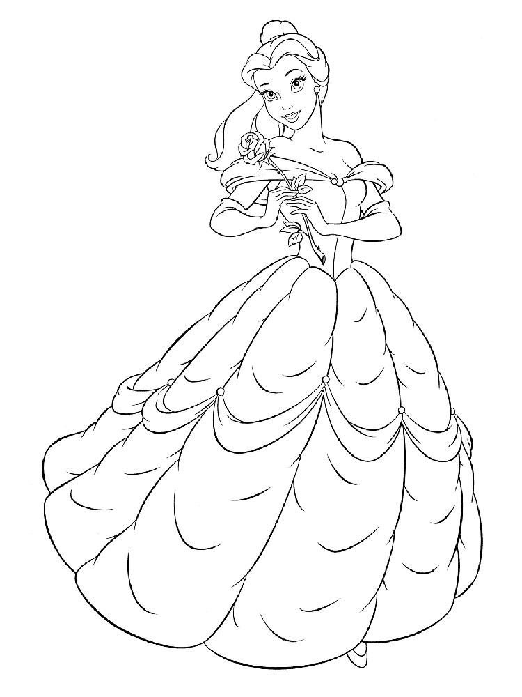 раскраски принцесса белль скачать и распечатать онлайн